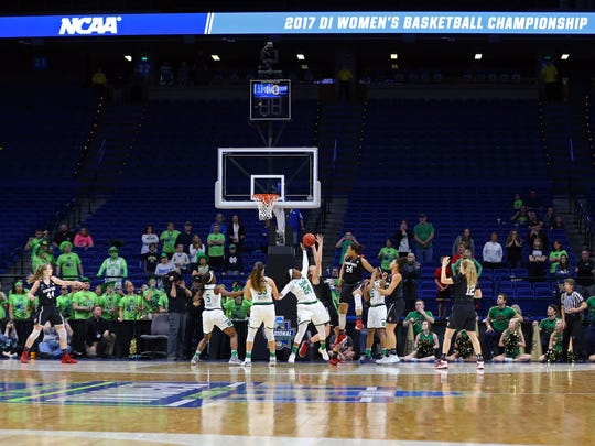 Notre Dame Fighting Irish guard Arike Ogunbowale (24) is blocked by Stanford Cardinal forward Erica McCall (24) in the second half in the finals of the Lexington Regional of the women's 2017 NCAA Tournament at Rupp Arena. Stanford won 76-75.