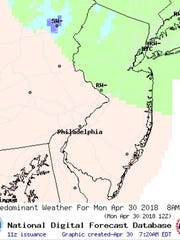 The National Weather Service forecast for April 30, 2018 predicted a line of mixed precipitation in Morris, Sussex, and Passaic counties that had some seeing snow that morning.