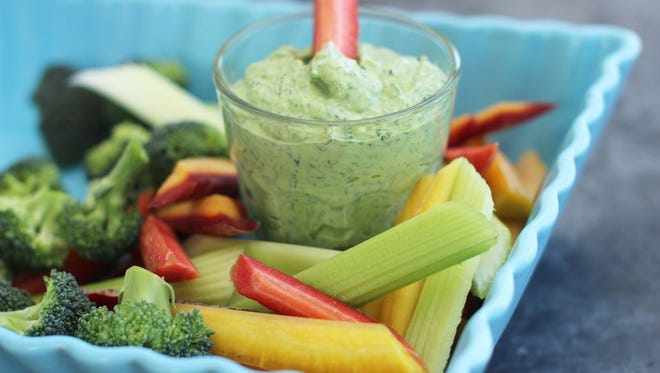 Fresh dill pesto is a tasty dip for vegetables.