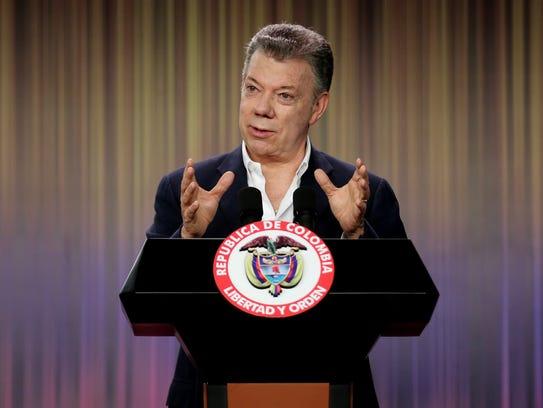 Colombian President Juan Manuel Santos speaks during