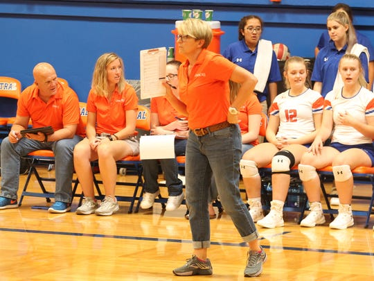 San Angelo Central High School head volleyball coach Connie Bozarth guided the Lady Cats to a 3-0 start on Day 1 of the Nita Vannoy Memorial Tournament at Babe Didrikson Gym on Friday, Aug. 17, 2018. Central will compete in the Gold Division on Saturday at Lake View's Ben Norton Gym.
