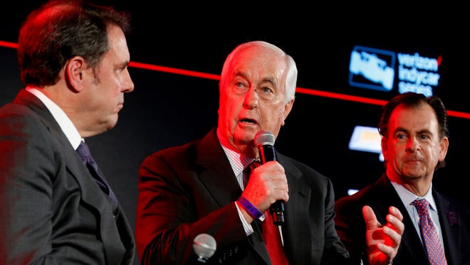 Roger Penske talks during a panel discussion about the 2018 IndyCar during the North American International Auto Show at Cobo Center in Detroit on Tuesday.