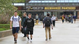 UW-Milwaukee students walk near the student union.