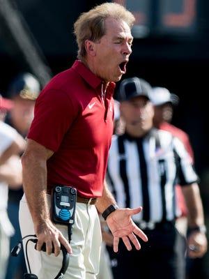 Alabama head coach Nick Saban screams instructions against Vanderbilt at Vanderbilt Stadium in Nashville, Tenn. on Saturday September 23, 2017.