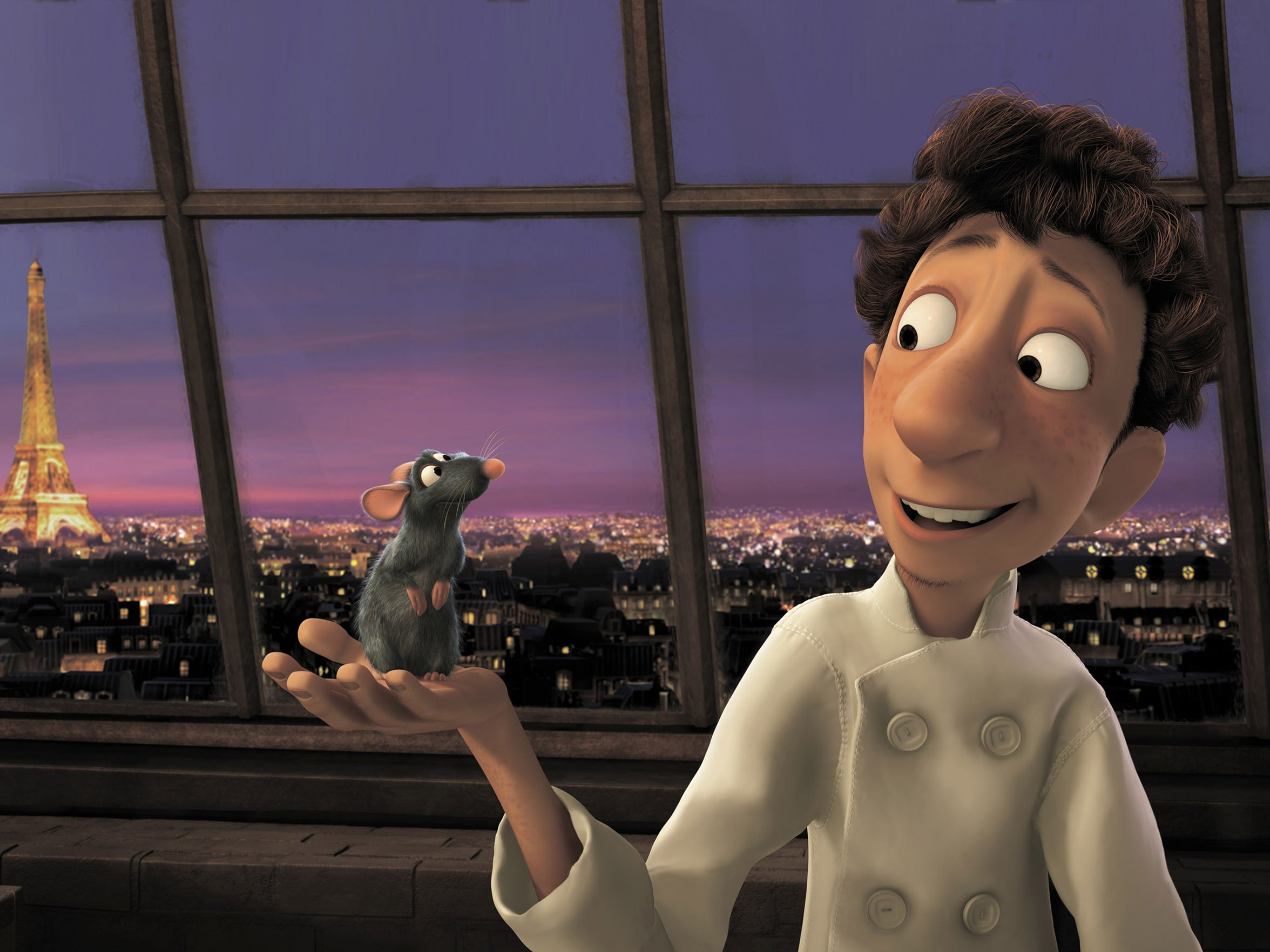Remy (voiced by Patton Oswalt ) and Linguini (voiced