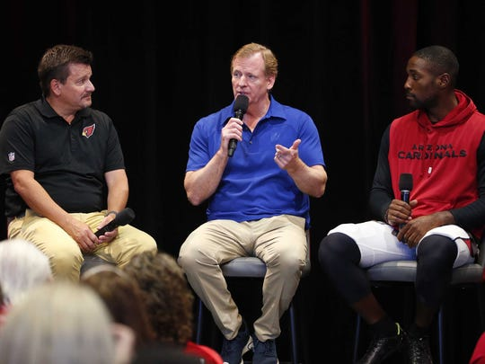 NFL Commissioner Roger Goodell answers questions with