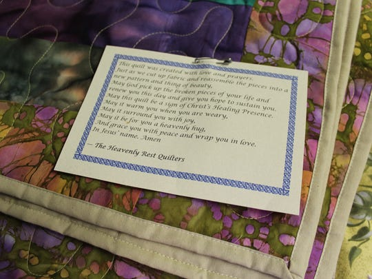 Each quilt at Heavenly Rest comes with an attached note to the recipient.