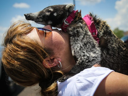 Sonya Winters holds Nana after she was returned Friday,