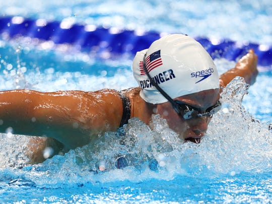 Hali Flickinger (USA) during the women's 200m butterfly heats Aug. 9, 2016 in the Rio 2016 Summer Olympic Games at Olympic Aquatics Stadium.