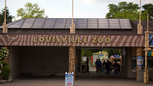 The entrance to the Louisville Zoo. June 1, 2017.