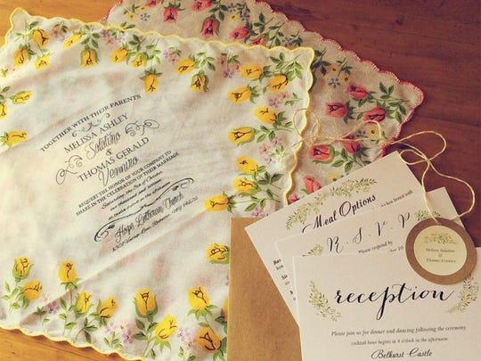 Custom-made wedding invitation handkerchiefs that follow