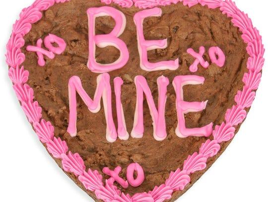 "A ""Be Mine"" Valentine's Day Brownie Cake from GourmetGiftBaskets.com."