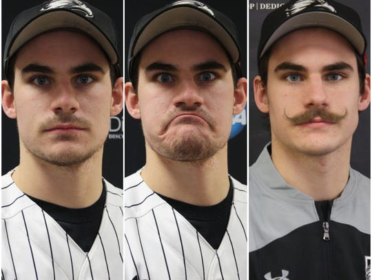 The many faces of Edgewood College's Nick Cheaney, the mustachioed light-hitting backup who transformed into the conference's best hitter as a senior. Cheaney is a St. Thomas More graduate and Oak Creek native.
