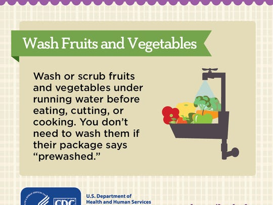 Wash fruits and vegetables under running water.
