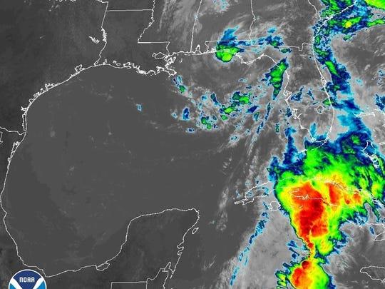 Subtropical Storm Alberto 2 p.m. May 28, 2018.