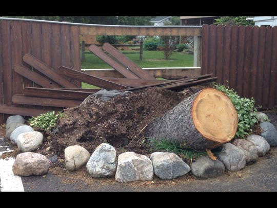 The remains of a tree that fell on the Minocqua Brewing Company during severe thunderstorms on Friday, June 10.
