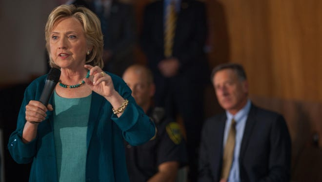 Vermont Gov. Peter Shumlin appeared with presidential candidate Hillary Clinton in September in Laconia, N.H., for a roundtable discussion on substance abuse.