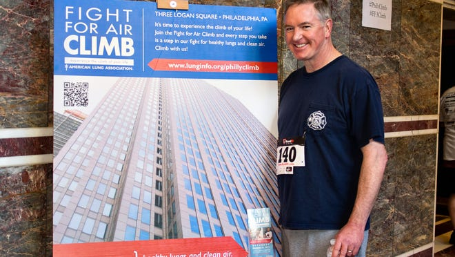 John Foley at the Fight for Air Climb in Philadelphia. John raised $10,000 and raced up 50 flights of stairs in honor of brother-in-law Tom Jenkins, who had a double-lung transplant.
