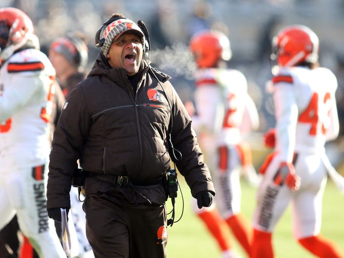 Cleveland Browns head coach Hue Jackson reacts on the