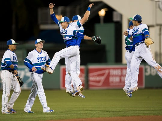 The FGCU team is all smiles after defeating No. 1 ranked Florida State 5-2 at JetBlue Park Wednesday, March 15, 2017 in Fort Myers, Fla.