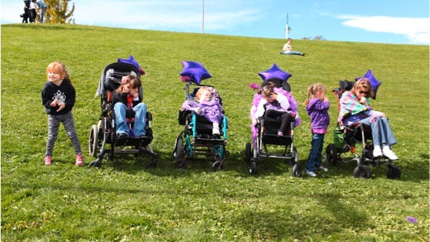 Four local girls with Rett Syndrome and two guests from Susanville, Calif. and Southern Oregon participated in the 2013 Stroll-a-thon.