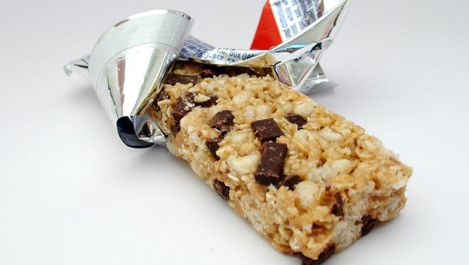 A granola bar in a wrapper