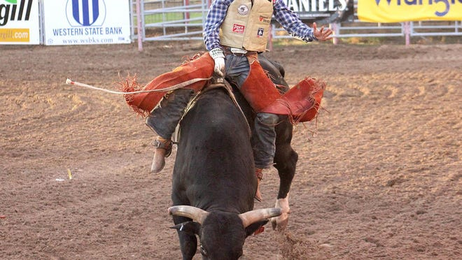 Veteran cowboy Trevor Kastner earned the first Division I victory of his 12-year career at the Dodge City Xtreme Bulls competition Tuesday. PHOTO BY TED HARBIN/SUBMITTED PHOTO