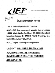 The following eviction notice was handed to Tianshu