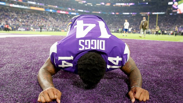Stefon Diggs #14 of the Minnesota Vikings celebrates