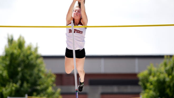 De Pere's Olivia Fabry clears the bar at 12 feet, 6 inches to win the Division 1 pole vault during the WIAA state track and field meet Friday, June 1, 2018, at Veterans Memorial Stadium in La Crosse, Wis.