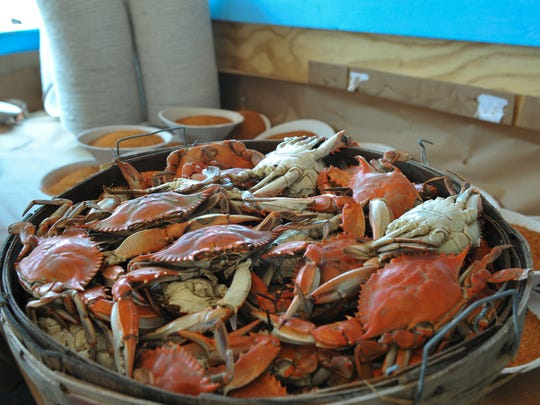 Fresh local steamed crabs were served during  last year's J. Millard Tawes Crab and Clam Bake.