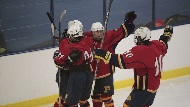 Action shots between Rye Town / Harrison and Pelham game during the section 1 hockey finals at Sport-O-Rama in Monsey on March 1, 2015. Pelham won 9 - 1.