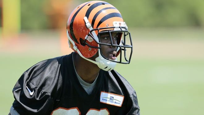 First-round pick William Jackson III nearly picked off a pass in his first OTA practice on Tuesday.