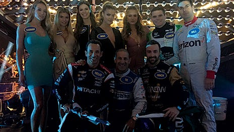 A group of IndyCar Series drivers takes on Sports Illustrated swimsuit models in 'Celebrity Family Feud' to be aired this summer