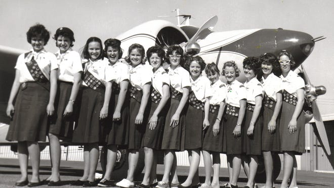 Members of the Girl Scouts Arizona Cactus-Pine Aviation Club gathered for a group picture in the 1950s.
