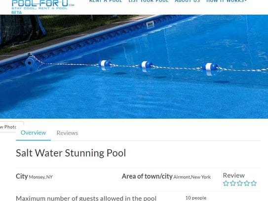 A screen shot of Pool For U shows a listing for a pool