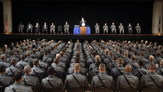 New York Gov. Andrew Cuomo speaks during a New York State Police graduation ceremony at the Empire State Plaza Convention Center on Sept. 3, 2015, in Albany.