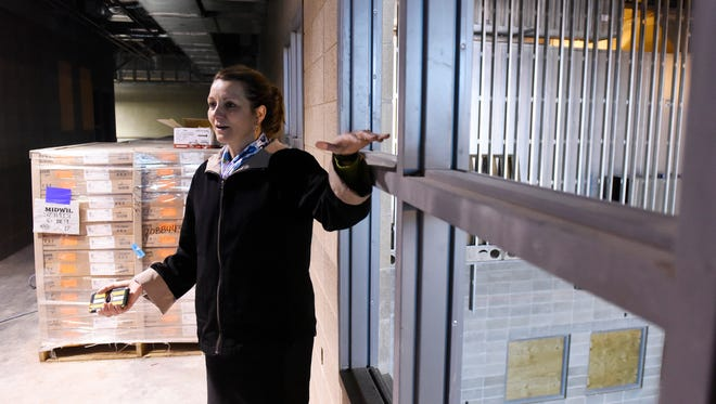 Tracy Vik, principal of the new Sonia Sotomayor Elementary School gives a tour and construction update on the school which is scheduled to open in the fall, March 30, 2016.