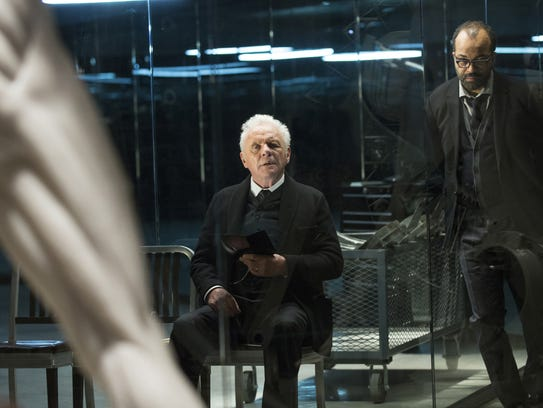 This image released by HBO shows Anthony Hopkins, left,