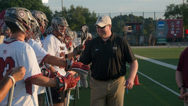 Florida Tech men?s lacrosse coach Ryan McAleavey talks to his team before a game last season. The Panthers are ranked 12th in the preseason poll.