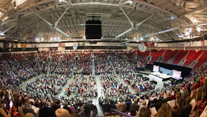 More than 5,000 people packed the Resch Center in Ashwaubenon for the Jehovah's Witnesses regional convention in 2015. This year's convention at the Resch will be May 27-29.