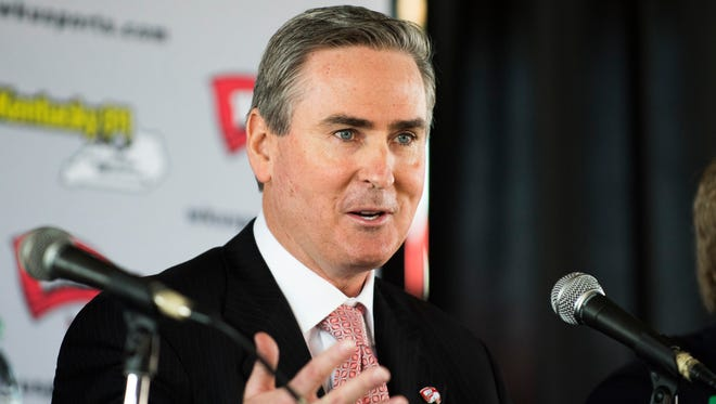 Rick Stansbury speaks at a news conference where he was announced as the new men's NCAA college basketball coach at Western Kentucky on Monday, March 28, 2016, in Bowling Green, Ky. (AP Photo/Michael Noble Jr.)
