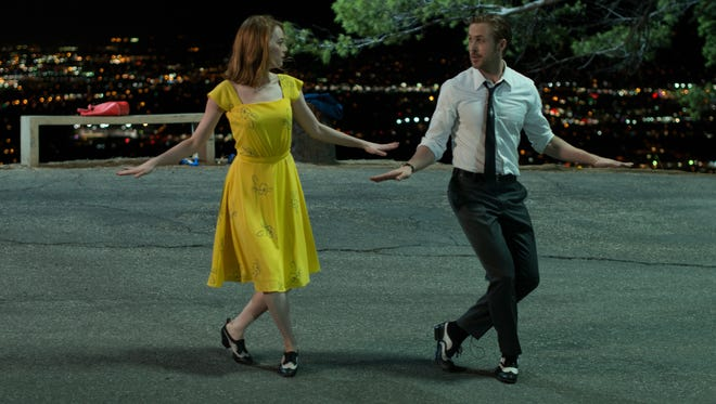 Mia (Emma Stone) and Sebastian (Ryan Gosling)  perform their 'A Lovely Night' song and dance in 'La La Land.'