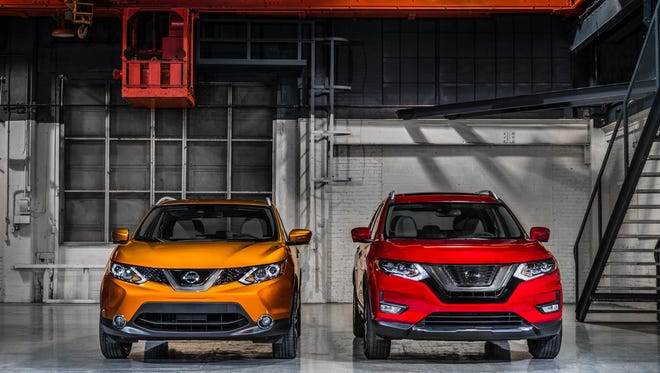 The 2017 Nissan Rogue Sport, left, is slightly smaller than Nissan's best-selling Rogue, right, giving it a tighter turning radius and sportier drive feel.