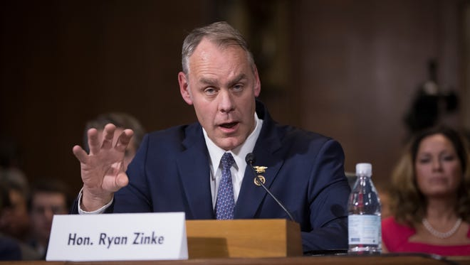 Interior Secretary-designate, Rep. Ryan Zinke, R-Mont. testifies on Capitol Hill in Washington, Tuesday, Jan. 17, 2017, at his confirmation hearing before the Senate Energy and Natural Resources Committee. Zinke, 55, a former Navy SEAL who just won his second term in Congress, was an early supporter of President-elect Donald Trump and, like his prospective boss, has expressed skepticism about the urgency of climate change.