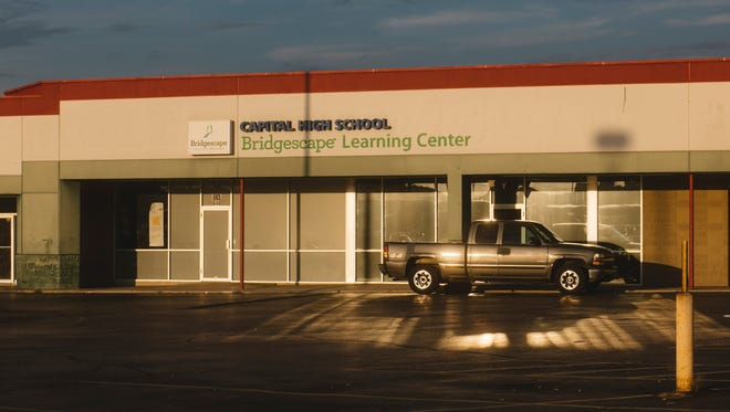Bridgescape Learning Center's Capital High School, part of the EdisonLearning umbrella, on September 21, 2017 in Columbus, Ohio. The charter school is in a strip mall with numerous abandoned storefronts.