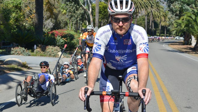 Participants ride a 70-mile stretch from Solvang to Ventura during the 2017 UnitedHealthcare California Challenge presented by Boeing. Project Hero, a nonprofit organization, is dedicated to helping veterans and first responders affected by post-traumatic stress disorder, traumatic brain injury and other issues achieve rehabilitation, recovery and resilience in their daily lives.