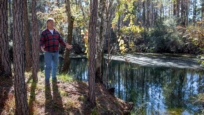 John Ferrell tells a story about the adjacent Blue Sink, one of at least nine sink holes on his 720-acre property, Nov 14. Ferrel has recently put the land up for sale at $5.5 million.