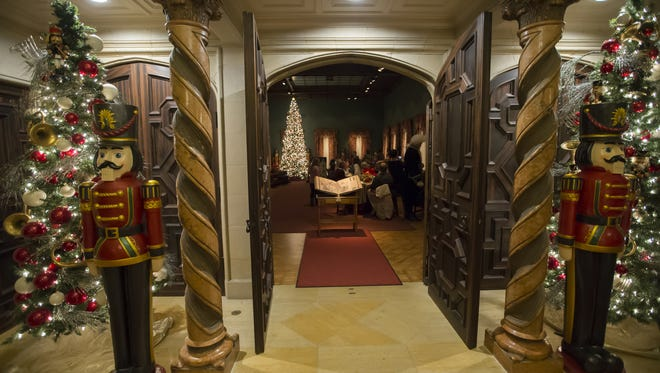 The welcoming entrance is pictured as people gathered inside to begin their tour of the Nutcracker in the Castle at the Paine Art Center and Gardens in 2015.