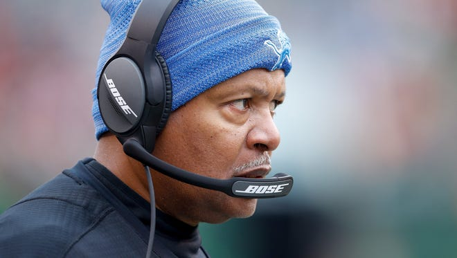 Head coach Jim Caldwell of the Detroit Lions looks on against the Cincinnati Bengals during the first half at Paul Brown Stadium on December 24, 2017 in Cincinnati, Ohio.